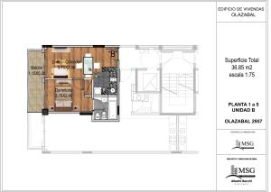 Unidad B pisos 1 a 6